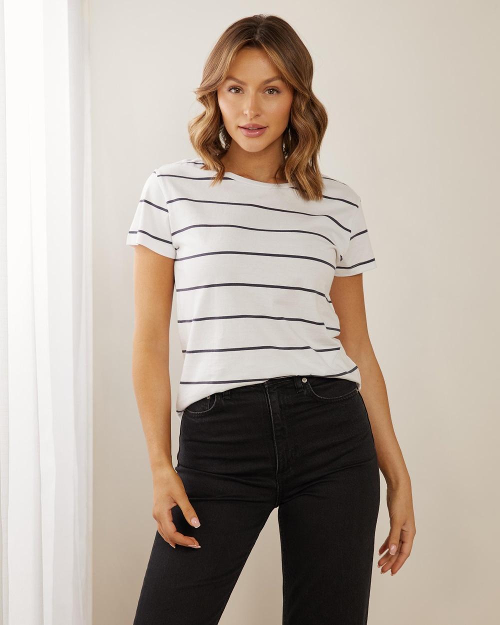 Atmos&Here Organic Cotton Crew Neck Tee T-Shirts & Singlets Navy And White Stripe Australia