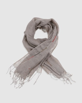 Arms Of Eve Maasai Beaded Linen Scarf   Taupe - Scarves & Gloves (Taupe)