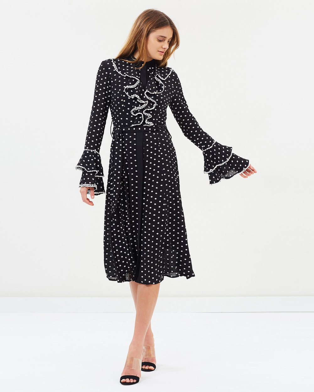 Keepsake the Label Deep Love LS Midi Dress Dresses Black & Ivory Spots Deep Love LS Midi Dress