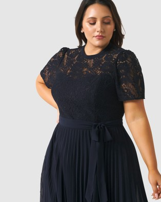 Forever New Curve Saskia 2 In 1 Pleated Curve Dress - Dresses (Navy)