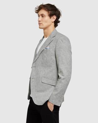 Oxford Blake Linen Blend Blazer - Blazers (Grey)