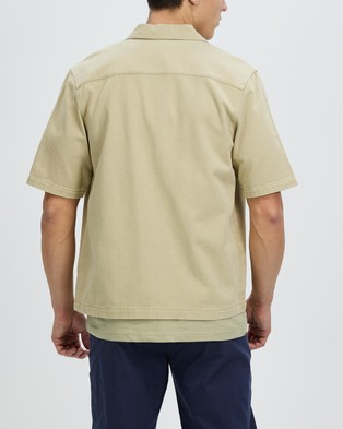 AERE Organic Twill SS Overshirt - Casual shirts (Sand)
