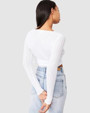 Cotton On - Arlo Textured Wrap Long Sleeve Top - Cropped tops (White) Arlo Textured Wrap Long Sleeve Top
