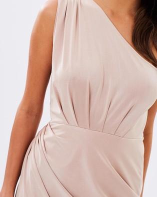 SKIVA One Shoulder Asymmetrical Dress - Dresses (Gold)