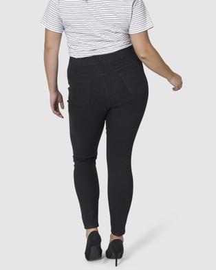 Indigo Tonic Amy 3 Button Skinny Waist Trimmer Jeans - High-Waisted (BLACK)