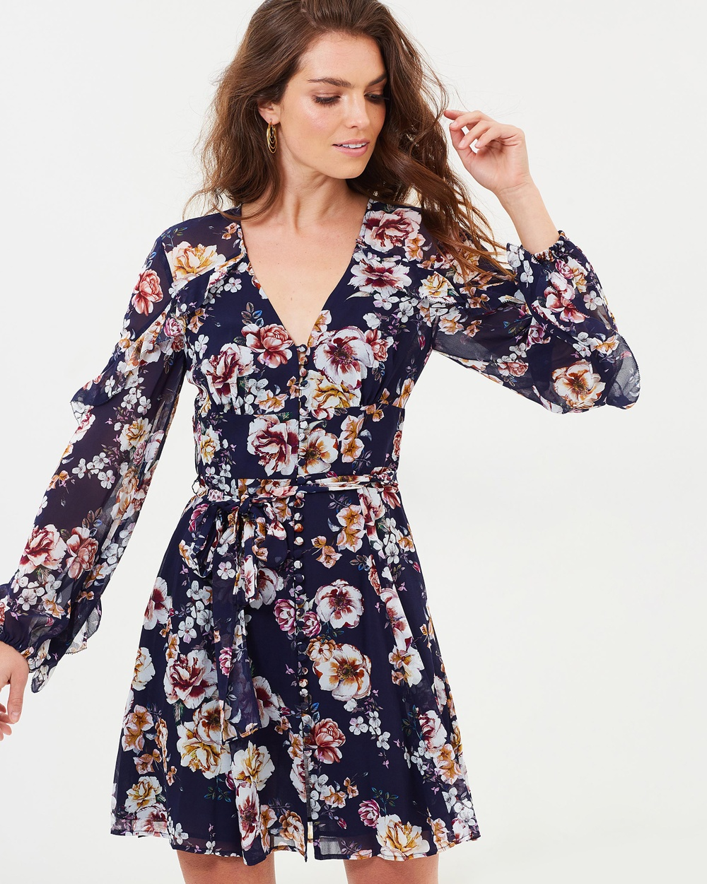 Nicholas Garden Rose Mini Blouson Dress Printed Dresses Navy Garden Rose Mini Blouson Dress