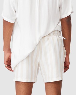 Cotton On - Swim Shorts Swimwear (White Ecru Bold Stripe)