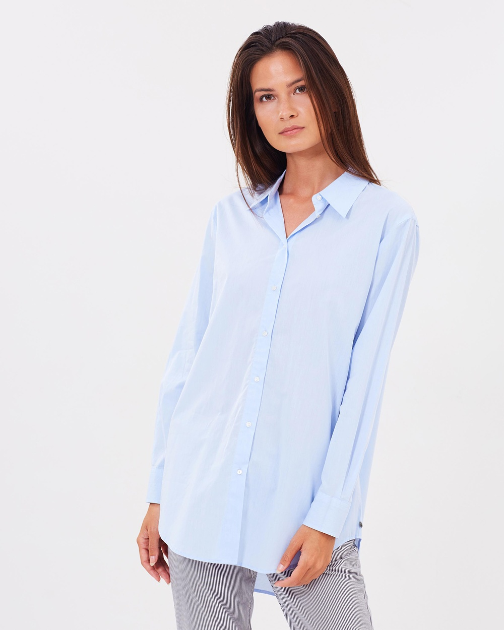 Maison Scotch Button Up Boyfriend Shirt Tops Sky Blue Button-Up Boyfriend Shirt