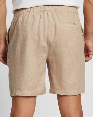 AERE Linen Pull On Shorts Sesame