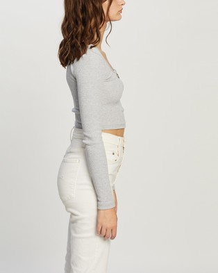 Missguided Scoop Neck Zip Front Rib Crop Top - Cropped tops (Grey)