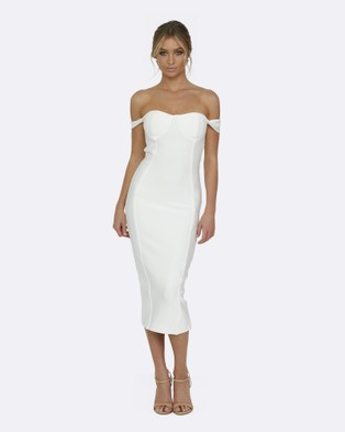 Honey Couture – Becky White Off Shoulder Bustier Bandage Dress – Bodycon Dresses (White)