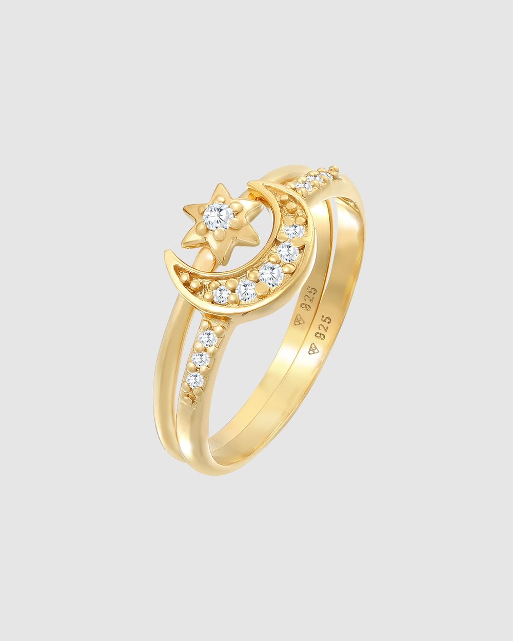 Elli Jewelry Ring Stacking Set Star Astro Trend with Zirconia Crystals in 925 Sterling Silver Gold Plated Jewellery Gold