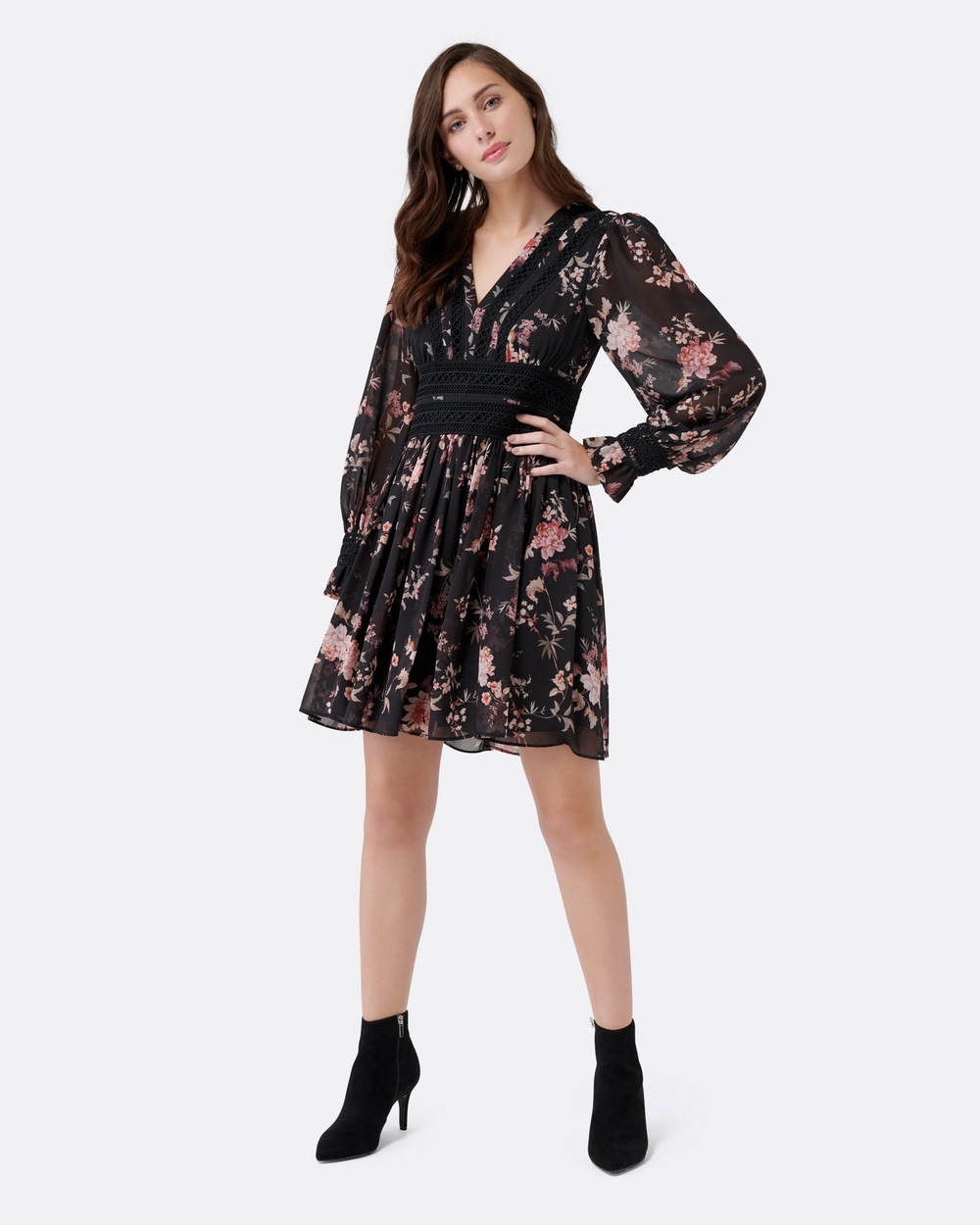Forever New Gabriella Soft Printed Dress Dresses Black Floral Gabriella Soft Printed Dress