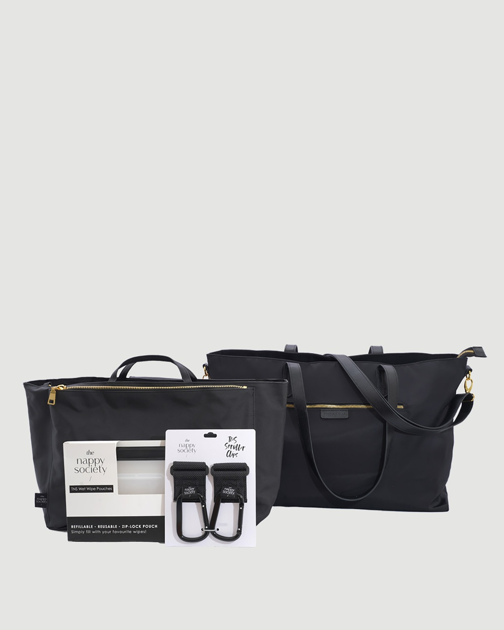 The Nappy Society Luxe Nylon Tote Bundle Bags Black