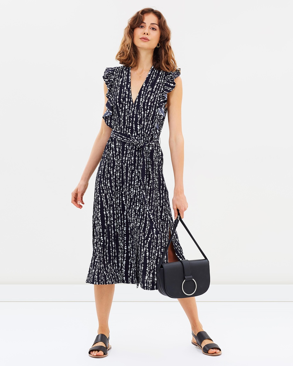 Whistles Savannah Print Misha Wrap Dress Printed Dresses Navy Multi Savannah Print Misha Wrap Dress