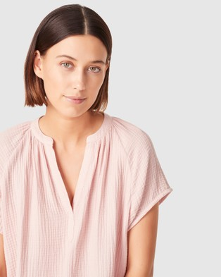French Connection Cotton Crinkle Popover Top - Tops (SOFT PINK)