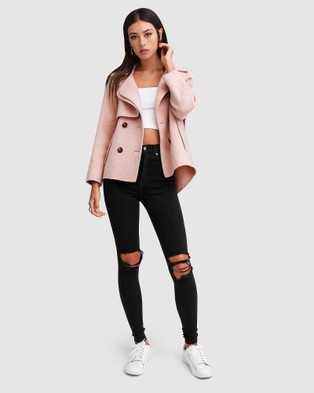 Belle & Bloom I'm Yours Wool Blend Peacoat - Coats & Jackets (Pink)