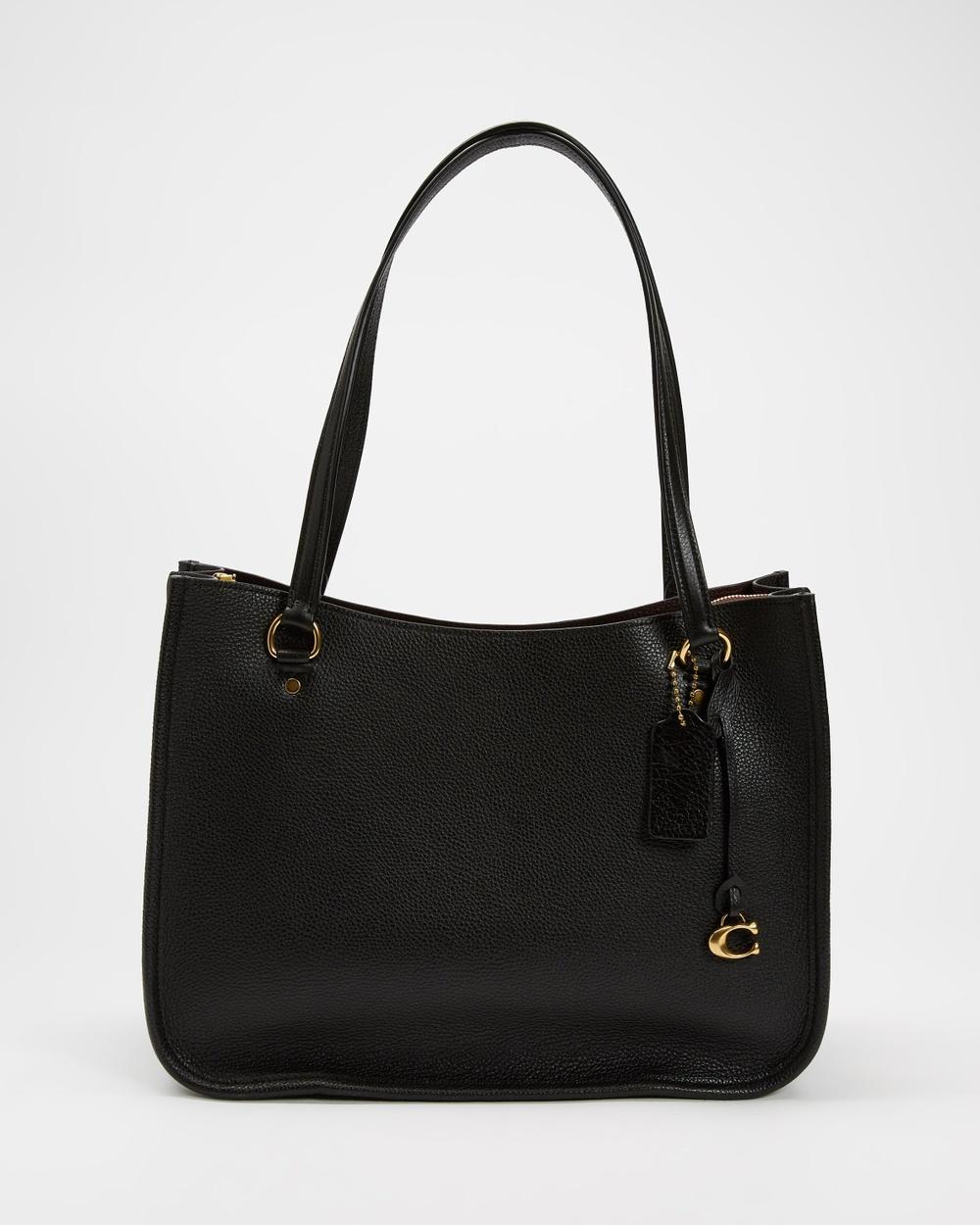 Coach Polished Pebble Leather Tyler Carryall Handbags Black