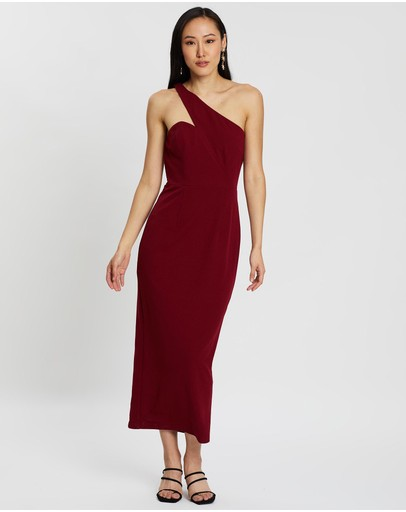 Romance By Honey And Beau Annabelle One Shoulder Dress Dark Red
