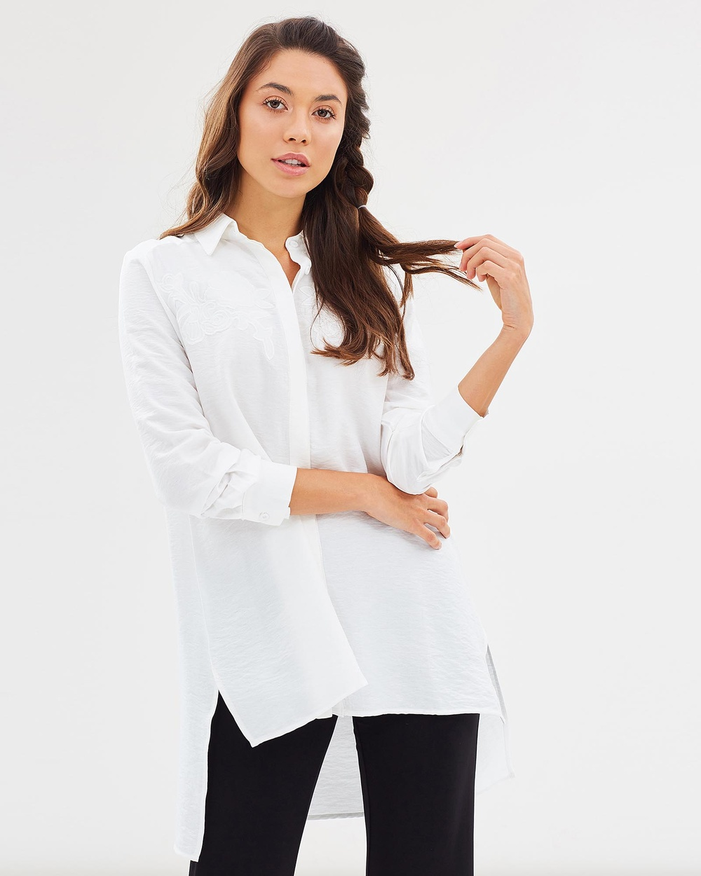 Faye Black Label Fall From Lace Applique Shirt Tops Off White Fall From Lace Applique Shirt