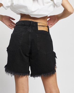 ONETEASPOON Frankies Long Length Denim Shorts - Denim (Worn Black)