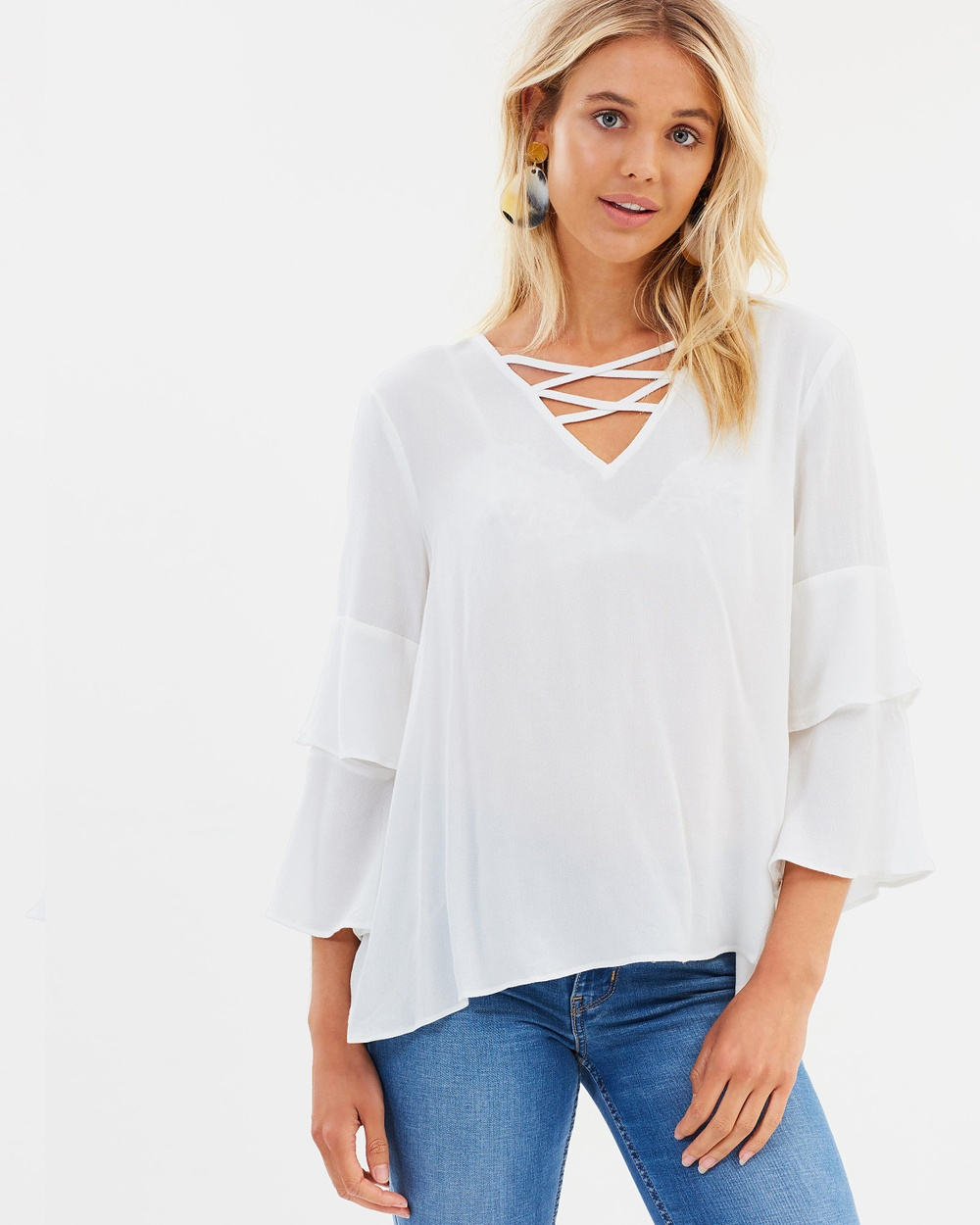 Sass Flossy Double Bell Blouse Tops Pearl Flossy Double Bell Blouse