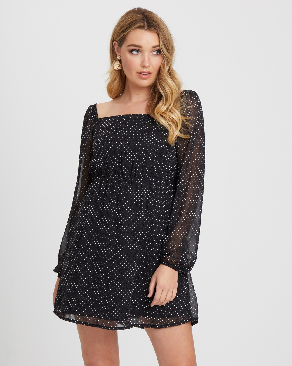 Calli Bettrina Square Neck Dress Dresses Black W- White Polka Dots Bettrina Square Neck Dress