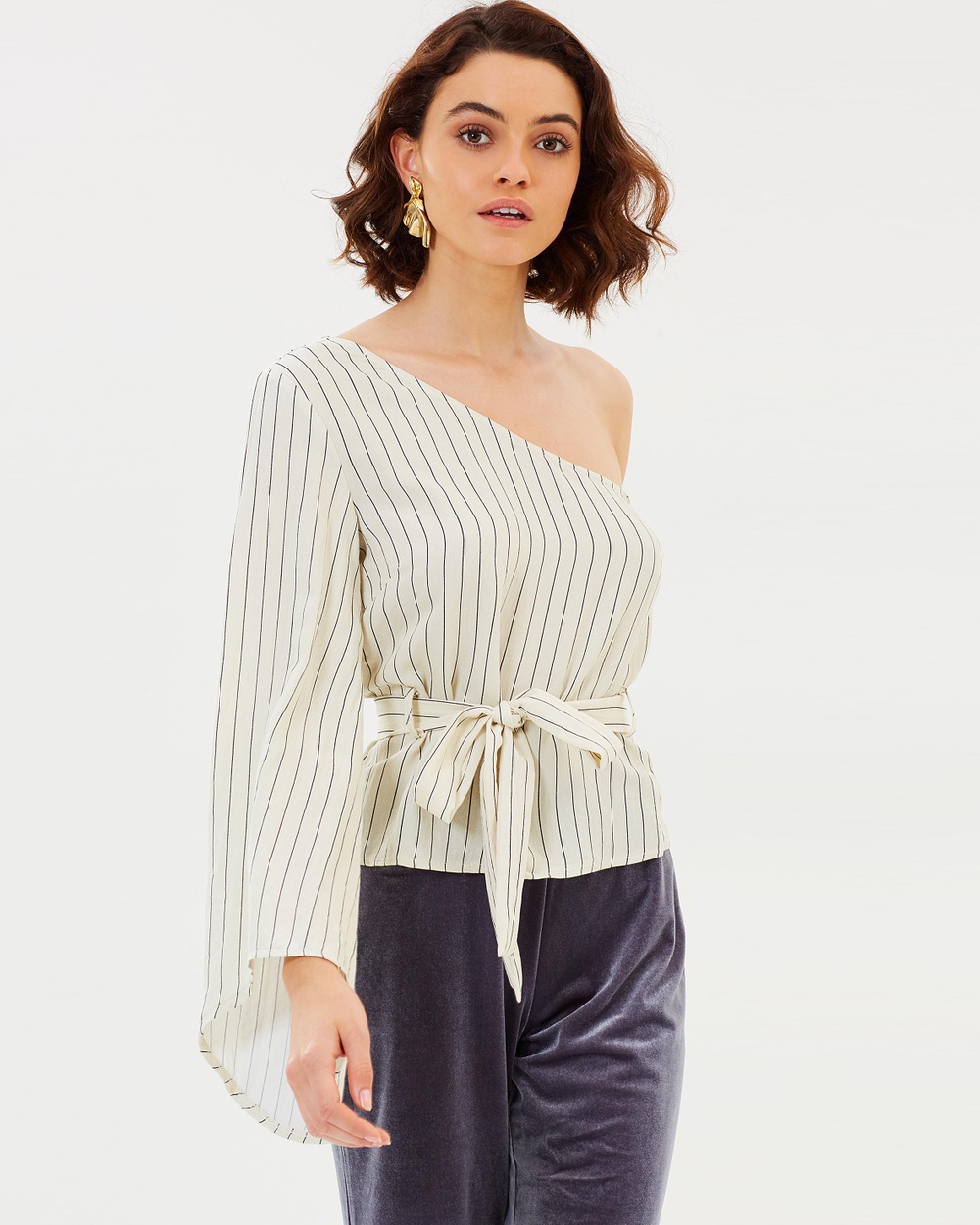 Dazie Vertical Vision One Sleeve Top Tops Off White Stripe Vertical Vision One Sleeve Top
