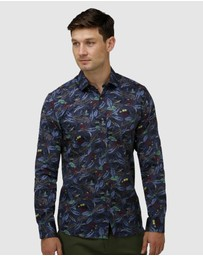 Brooksfield - Tonal Hawaiian Print Satin Business Shirt