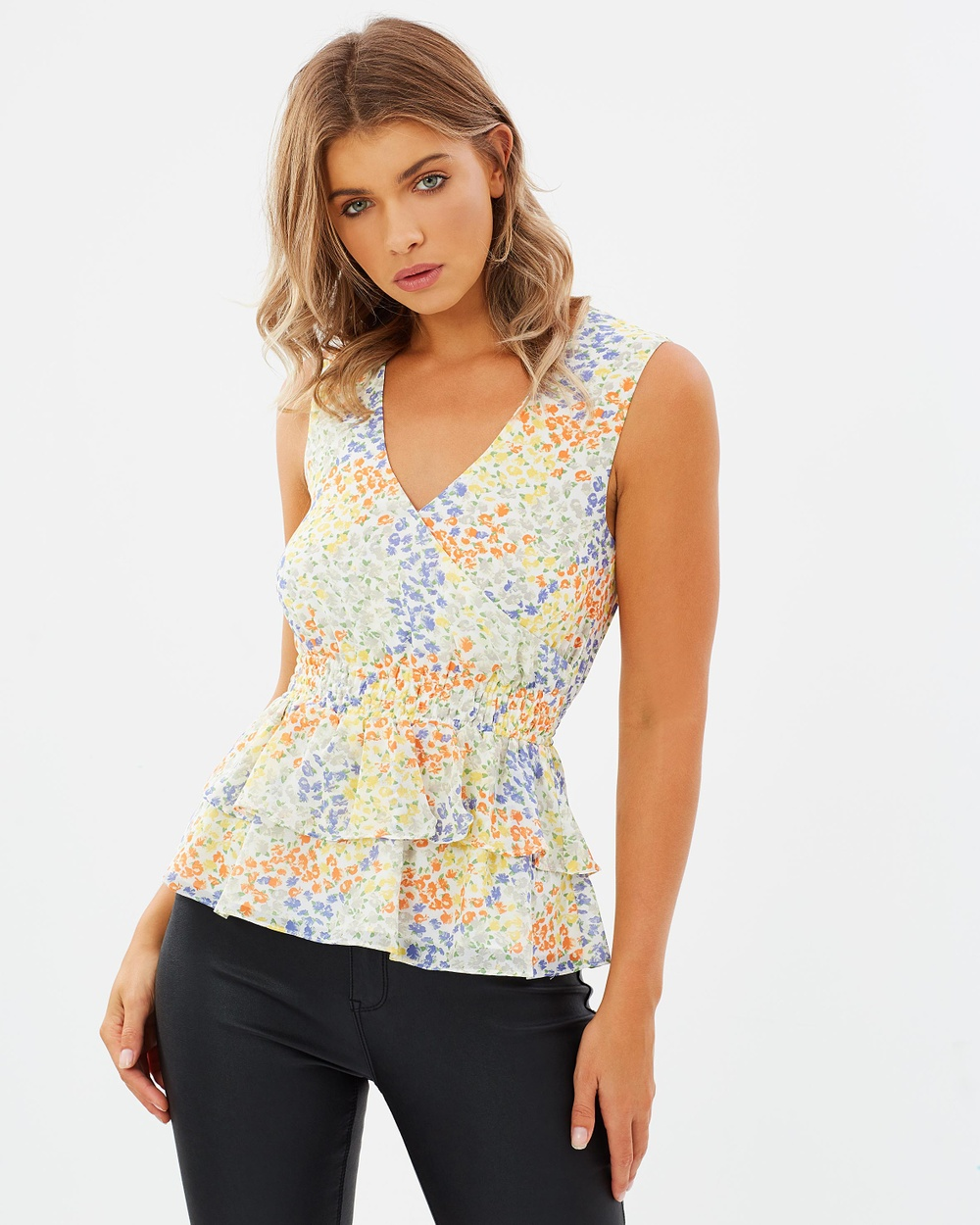 Atmos & Here ICONIC EXCLUSIVE Quinn Frill Peplum Top Tops Block Colour Floral ICONIC EXCLUSIVE Quinn Frill Peplum Top