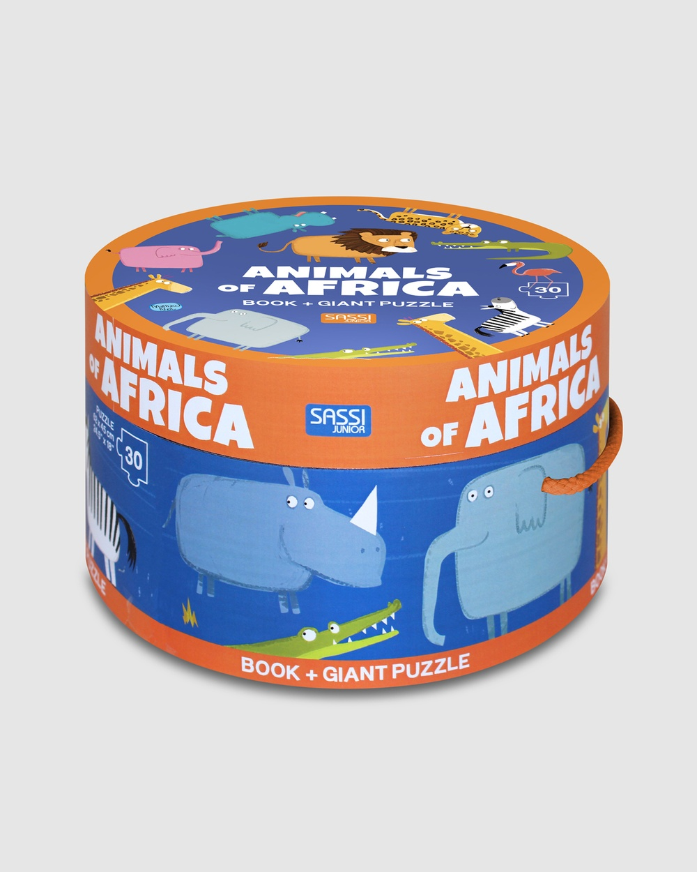 Sassi Animals of Africa Book & Giant Puzzle 30 Pieces Accessories N/A