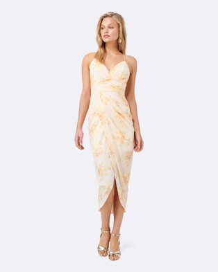 Forever New – Iza Drape Maxi Dress – Bridesmaid Dresses Light Base Print