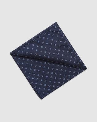 Buckle Bloom Tie & Pocket Square Set - Ties (Navy)