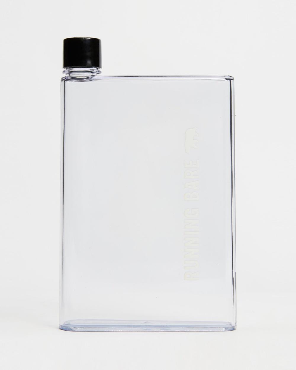 "Running Bare ""Take a Memo"" Notepad Flat Water Bottle 450ml Bottles Clear & Black"