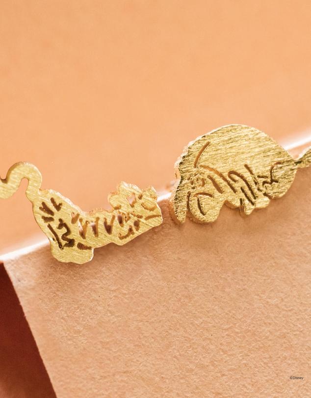 Women Disney Earring Tigger and Eeyore Gold