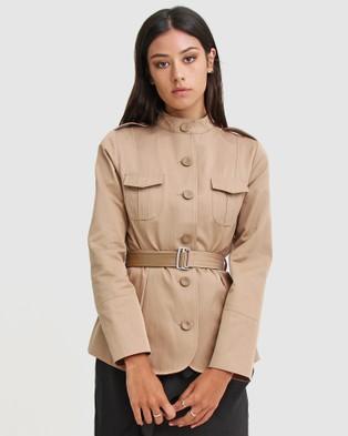 Belle & Bloom Secret Crush Belted Blazer - Blazers (Brown)