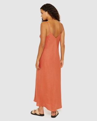 Jag Easy Linen Slip Dress - Dresses (red)