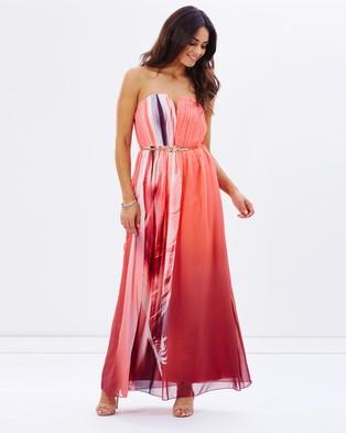 Little Mistress – Feather Print Bandeau Maxi Dress – Dresses (Print)