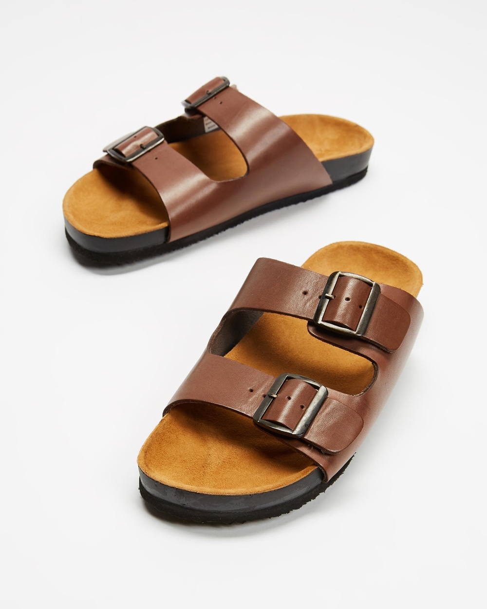 AERE Two Strap Buckle Leather Sandals Casual Shoes Brown