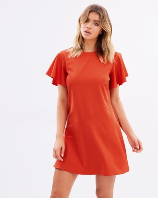 Atmos & Here – Valentina Dress With Frill Sleeves Pop Red