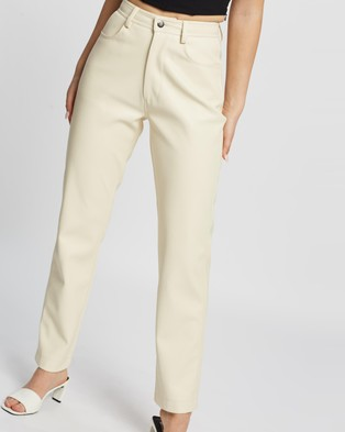 Dazie Look At Her Now PU Pants - Pants (Cream)