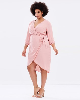 Atmos & Here Curvy – Darling Wrap Dress – Dresses (Dusty Pink)