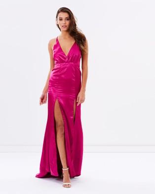 SKIVA – Satin Evening Dress w Front Splits – Dresses (Magenta)