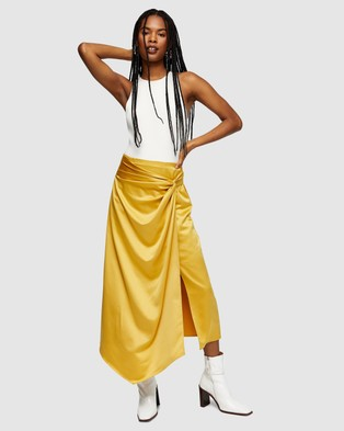TOPSHOP Plain Satin Sarong Skirt - Skirts (Ochre)