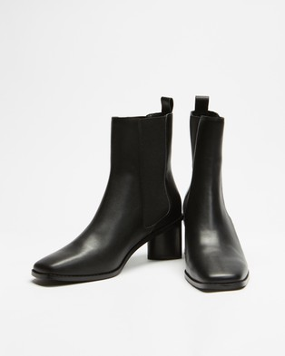 AERE Square Toe Leather Chelsea Boots - Shoes (Black Leather)