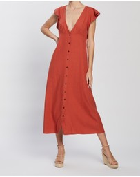ONLY - Becca Button Woven Midi Dress