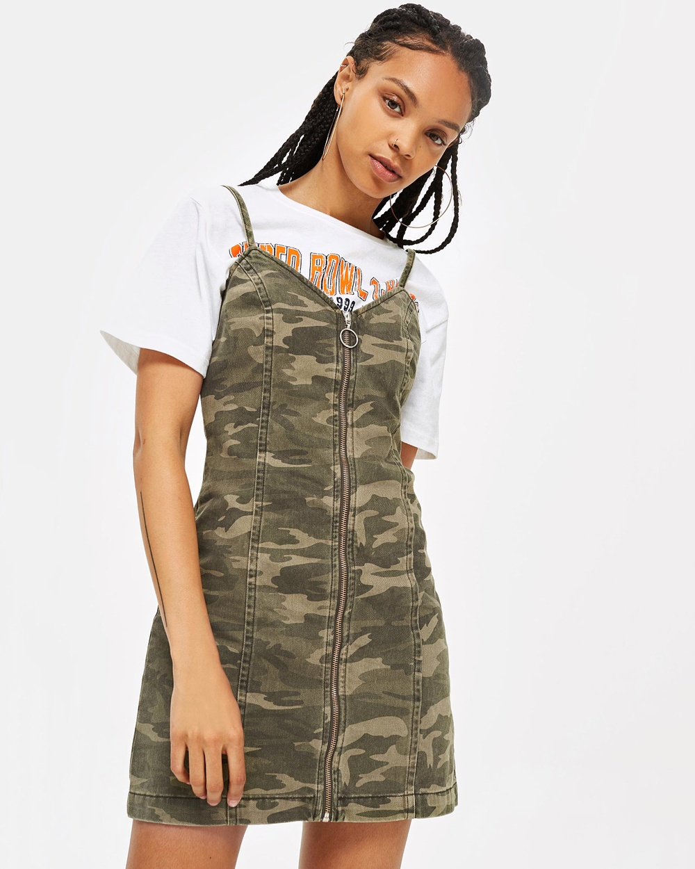 TOPSHOP Camo Zip Up Denim Dress Dresses Green Camo Zip Up Denim Dress