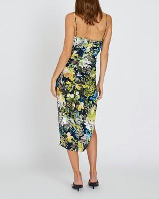 BY JOHNNY. Simona Gather Split Midi Dress - Printed Dresses (Tropical Floral)