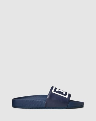 Polo Ralph Lauren Cayson Polo Sandals   Men's - Slides (Newport Navy & White)