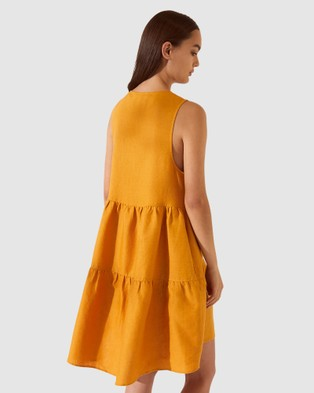 SABA SB Lila Linen Tiered Tie Dress - Dresses (Mustard)